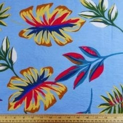 Viscose Fabric Sicily Leaf pale blue