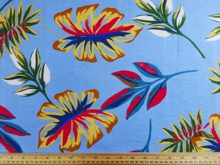 Viscose Fabric Sicily Leaf pale blue