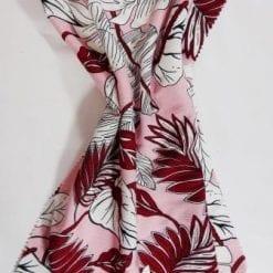 Viscose Crinkle Fabric Rio Leaf pink