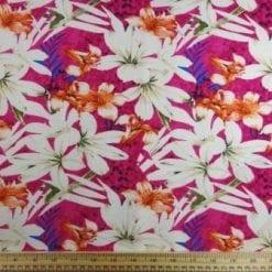 Linen Look Fabric Maya Bay Flowers cerise