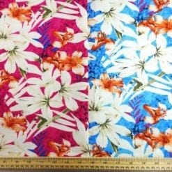 Linen Look Fabric Maya Bay Flowers