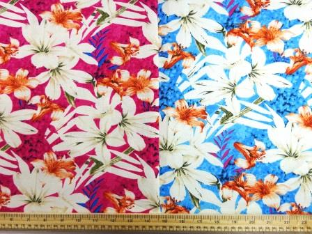 Linen Look Fabric Maya Bay Flowers
