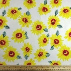 Linen Look Fabric Sunflower Garden ivory