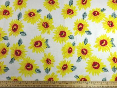 Linen Look Fabric Sunflower Garden ivory