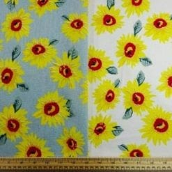 Linen Look Fabric Sunflower Garden