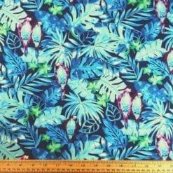 Cotton Print Fabric Blue Parrot Party