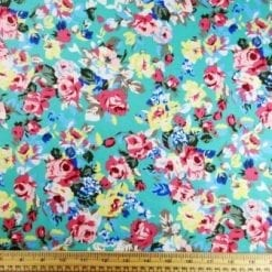 Cotton Print Fabric Spearmint Rose