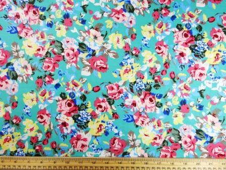 Cotton Print Fabric Spearmint Rose