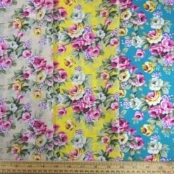 Cotton Print Fabric Geraldine Bouquet Floral