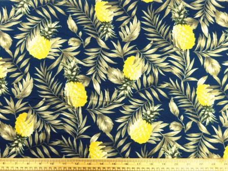 T-Shirting Fabric Fruity Pineapples navy