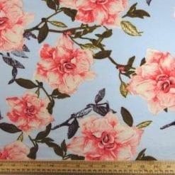 T-Shirting Fabric Trellis Rose blue