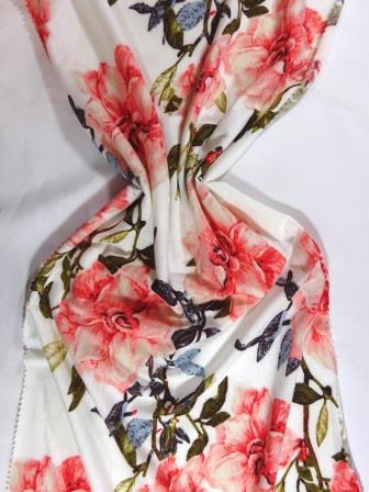 T-Shirting Fabric Trellis Rose ivory
