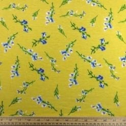 T-Shirting Fabric Wild Flowers Yellow