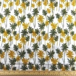 Cotton Fabric Palm Leaves Olive Mustard