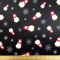Scuba Jersey Fabric Penguins In The Dark