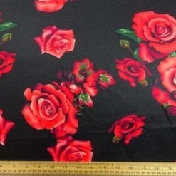 Scuba Jersey Fabric Black Magic Roses