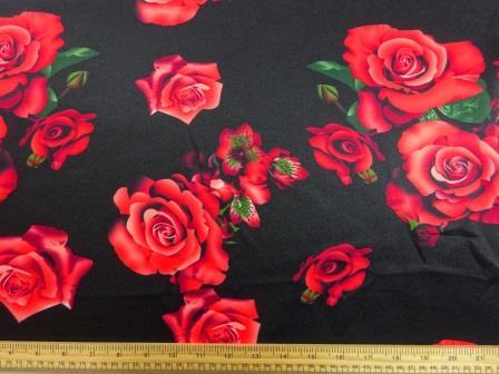 Scuba Jersey Fabric Black Magic Roses