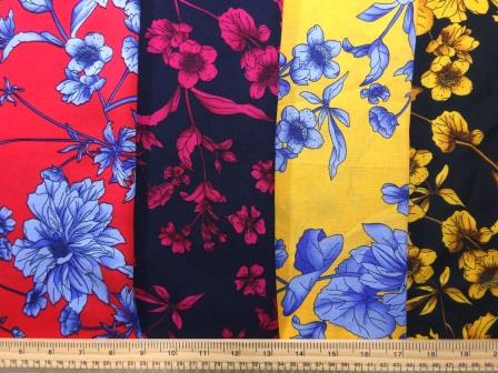 Viscose Fabric Anemone Floral