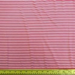 T-Shirting Fabric Red And White Mini Striped