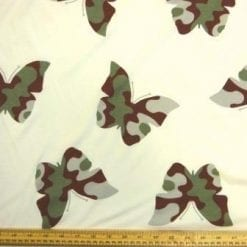 T-Shirting Fabric Camouflage Butterfly Cream