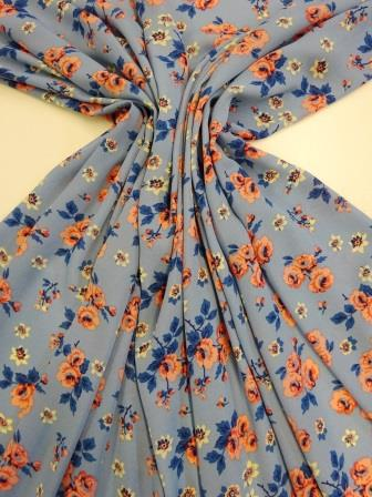 Georgette Fabric Heavy Rose blue