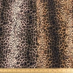 Crepe De Chine Fabric Funky Leopard Cat