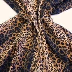 Crepe De Chine Fabric Funky Leopard Cat tan