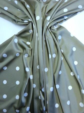 Stretch Satin Fabric Khaki Spot