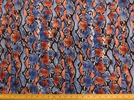 Crepe De Chine Fabric Blue Scale Snake