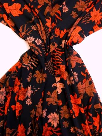 Crepe Fabric Lily Rust Flower