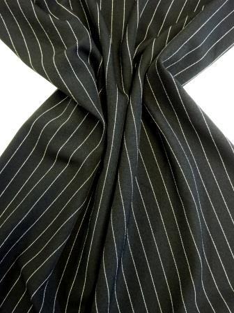 Suiting Fabric Pin Stripe Mafia Black