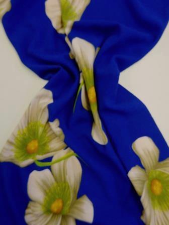 Jersey Fabric Very Big Blue Flower