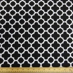 Cotton Canvas Fabric Trellis Black/White