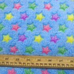 Huggable Fleece Fabric Multi Stars Blue