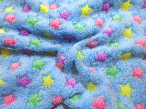 Huggable Fleece Fabric Multi Stars Blue