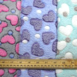 Huggable Fleece Fabric Hearts Dots