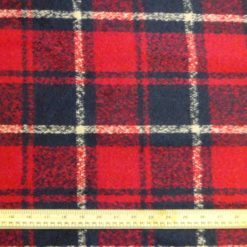 Polyester Wool Jacketing Fabric Red Gusto Plush