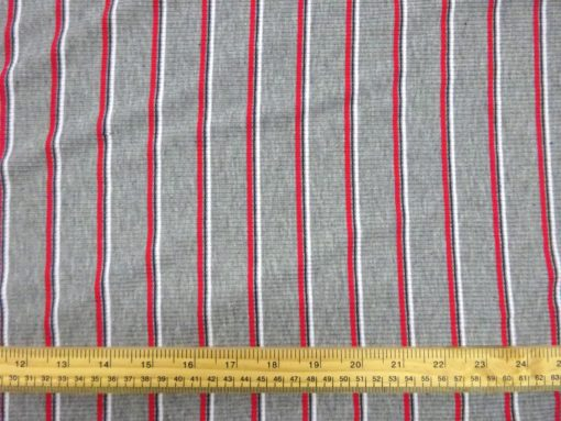 T-Shirting Jersey Fabric Striped Grey/Red