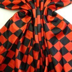 Satin Print Fabric Harlequin Black Red