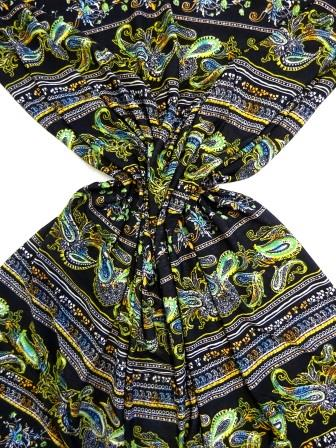 T-Shirting Fabric Paisley Delight green/blk