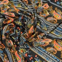 T-Shirting Fabric Paisley Delight red/blk