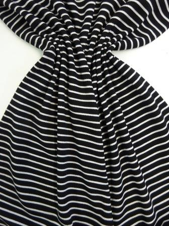 Jersey Crepe Fabric Rope Twist Black/White Stripe