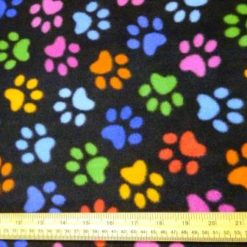 Polar Fleece Fabric Multi Paws