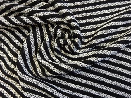 Jacketing Fabric Boucle Al capone black and white stripe