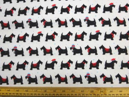 Christmas Snow Dog Polyester Cotton Fabric