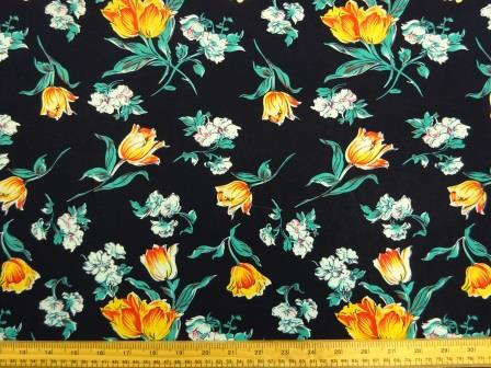 Dark Navy Blue 100/% Viscose Fabric with White Flowers Per Metre
