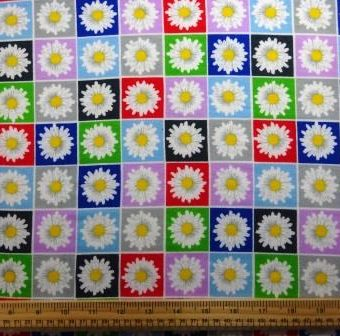 Daisy Coloured Squares Floral