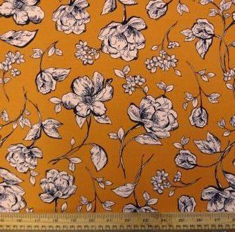 Orchid Lilly Burnt Orange/Cream Crepe de Chine
