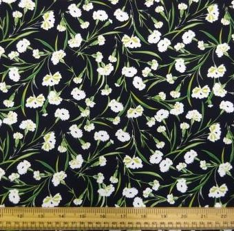 Floral Carnations Folly Black Crepe de Chine